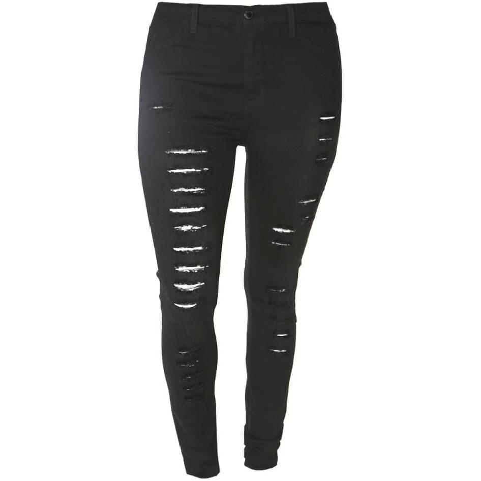 Plus Size Mid Rise Distressed Black Jeans