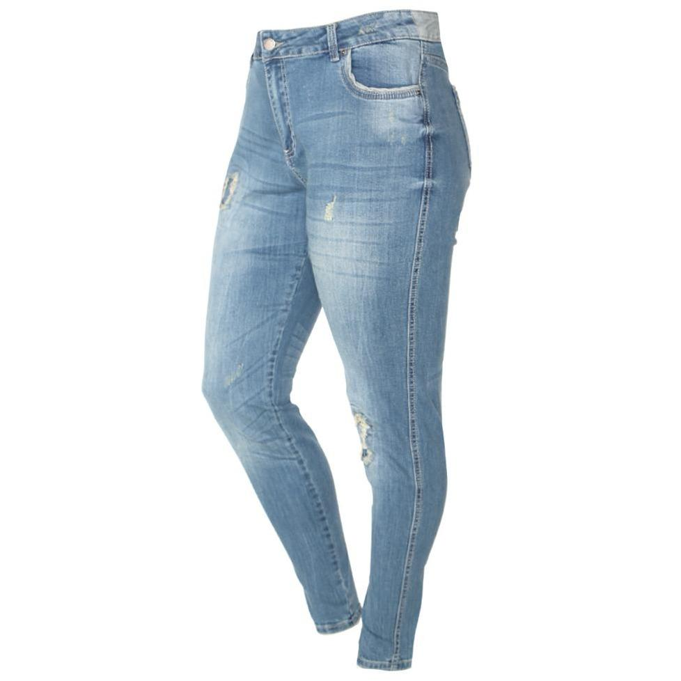 Plus Size Mid Rise Distressed Patchwork Jeans, Light Blue