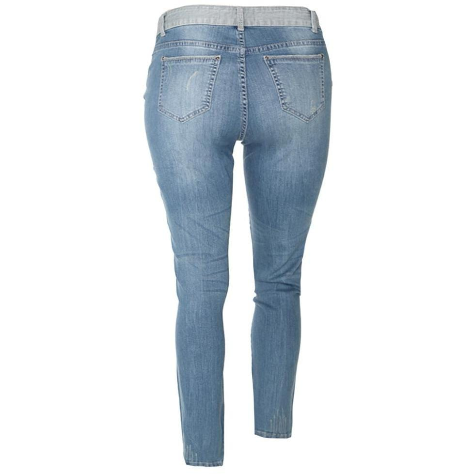 Plus Size Mid Rise Lightly Distressed Patch Jeans, Light Wash
