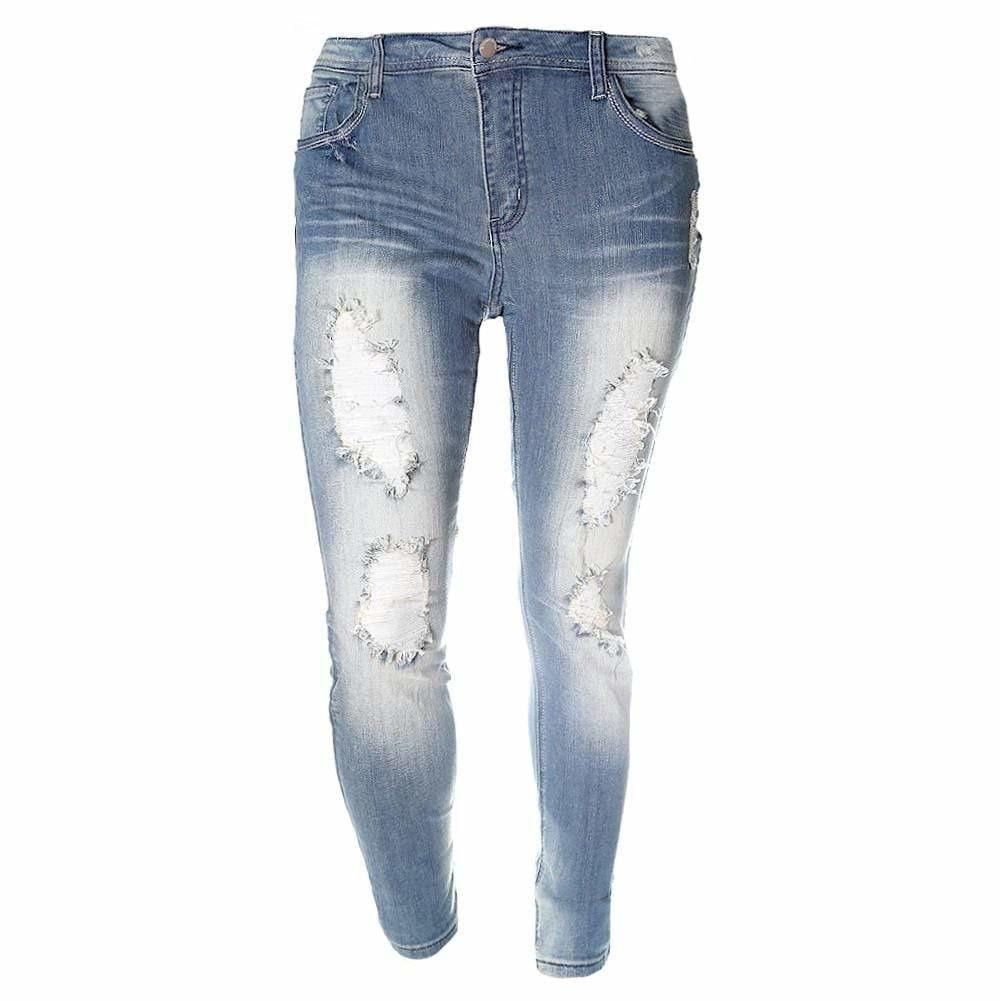 Plus Size Distressed Jeans, Light Wash