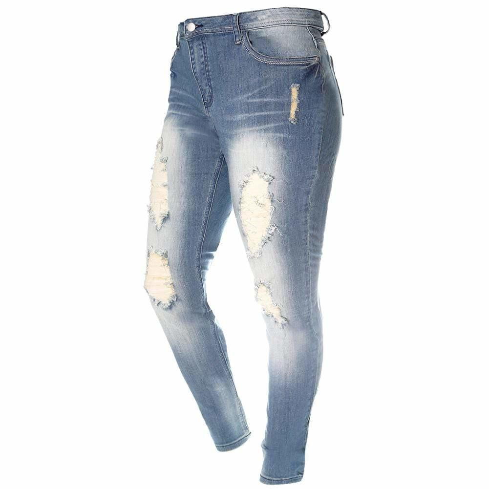 Plus Size Mid Rise Destroyed Denim, Medium Wash