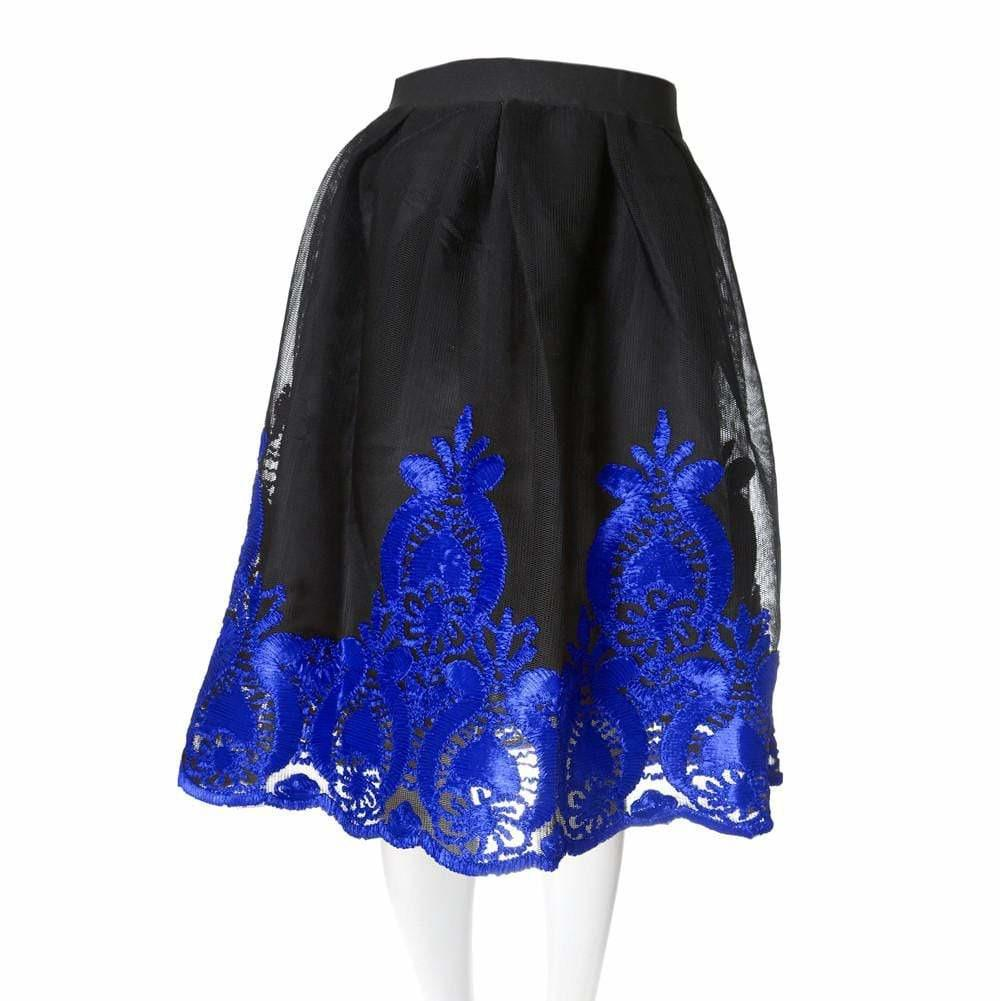 Posh Shoppe: Plus Size Sheer Decadence Mesh Midi Skirt, Saphire Bottoms