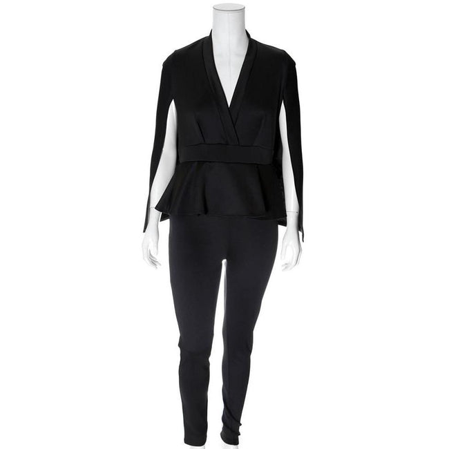 Posh Shoppe: Plus Size Caped Peplum Jumpsuit Dress