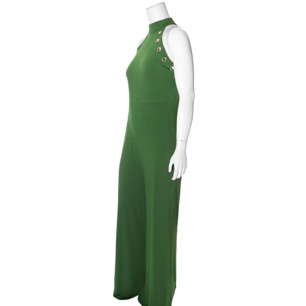 Posh Shoppe: Plus Size Gold Hardware Halter Jumpsuit, Green Bottoms