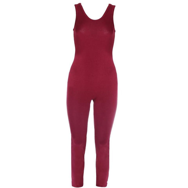 Posh Shoppe: Plus Size Classic Cotton Jumpsuit, Burgundy Bottoms