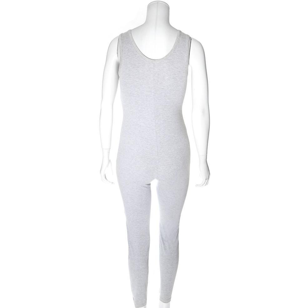 Posh Shoppe: Plus Size Classic Cotton Jumpsuit, Heather Gray Bottoms