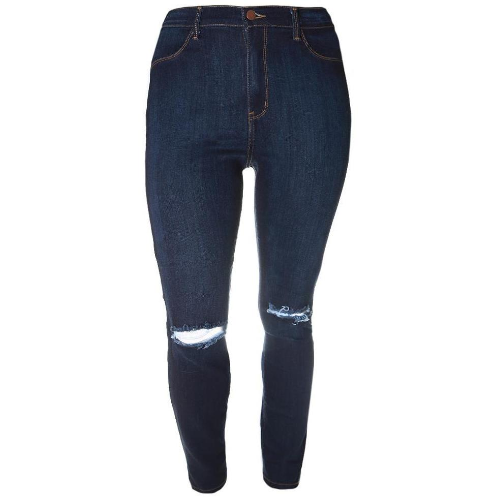 Plus Size High Rise Dark Wash Jeans, Torn Knees