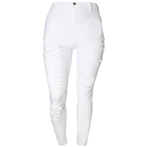 Plus Size Mid Rise Destroyed White Jeans