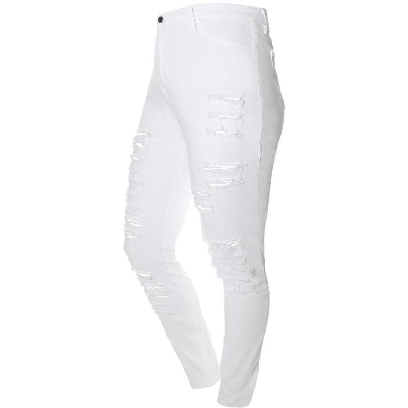 Posh Shoppe: Plus Size Mid Rise Distressed White Jeans Bottoms