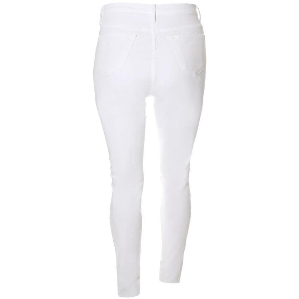 Plus Size Mid Rise Distressed White Jeans