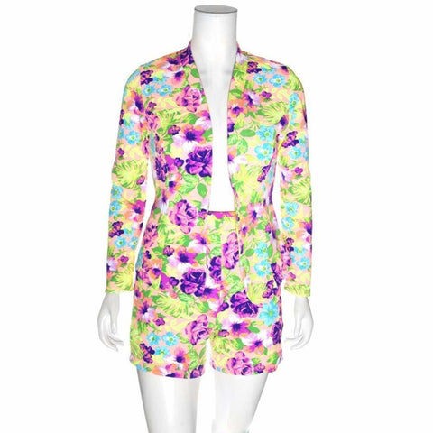 Plus Size  Piece Coordinating Jacket and Shorts, Garden Print