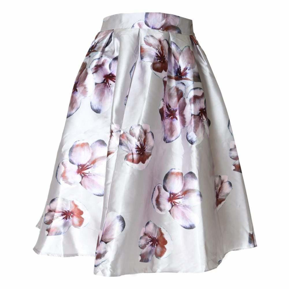 Plus Size Morning Orchid Satin Midi Skirt