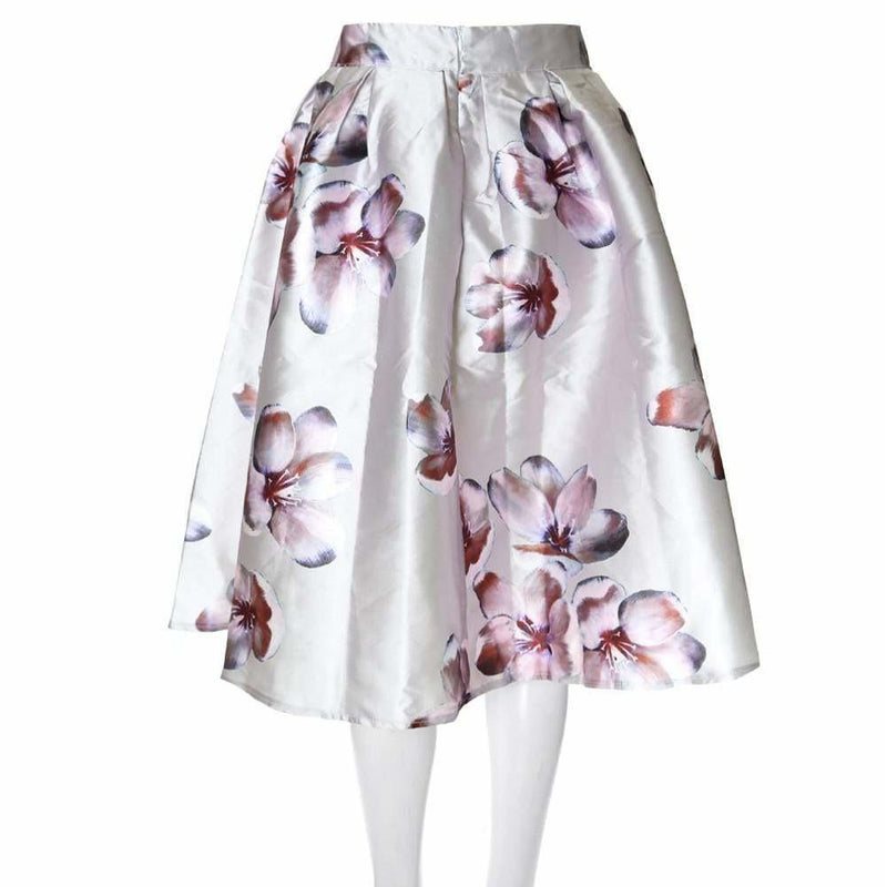 Posh Shoppe: Plus Size Morning Orchid Satin Midi Skirt Bottoms