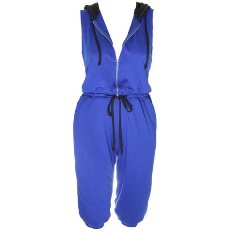 Plus Size Zip Up Terry Cropped Jumpsuit with Hood, Cobalt and Black