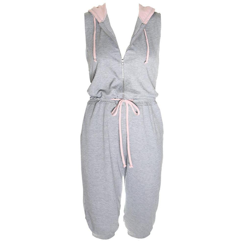 Posh Shoppe: Plus Size Zip Up Terry Cropped Jumpsuit with Hood, Gray and Blush Bottoms