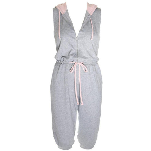 Plus Size Zip Up Terry Cropped Jumpsuit with Hood, Gray and Blush