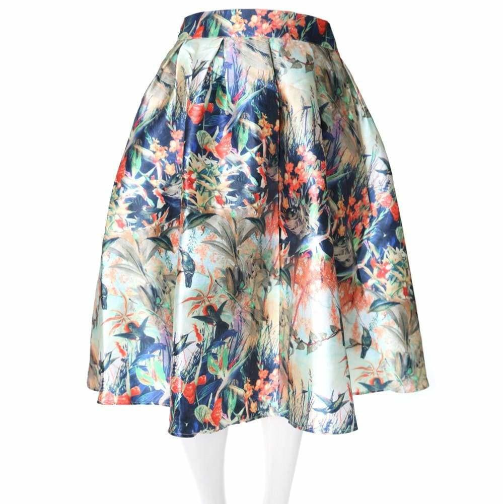 Posh Shoppe: Plus Size Tropical Print Satin Midi Skirt Bottoms