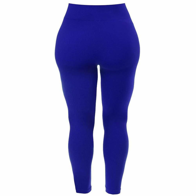 Posh Shoppe: Plus Size Seamless Opaque Full Length Leggings, Cobalt Bottoms