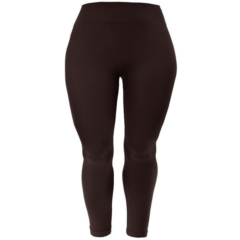 Posh Shoppe: Plus Size Seamless Opaque Full Length Leggings, Espresso Bottoms