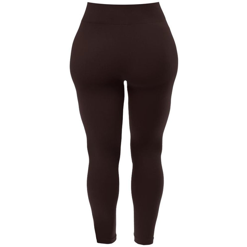 Plus Size Seamless Opaque Full Length Leggings, Espresso