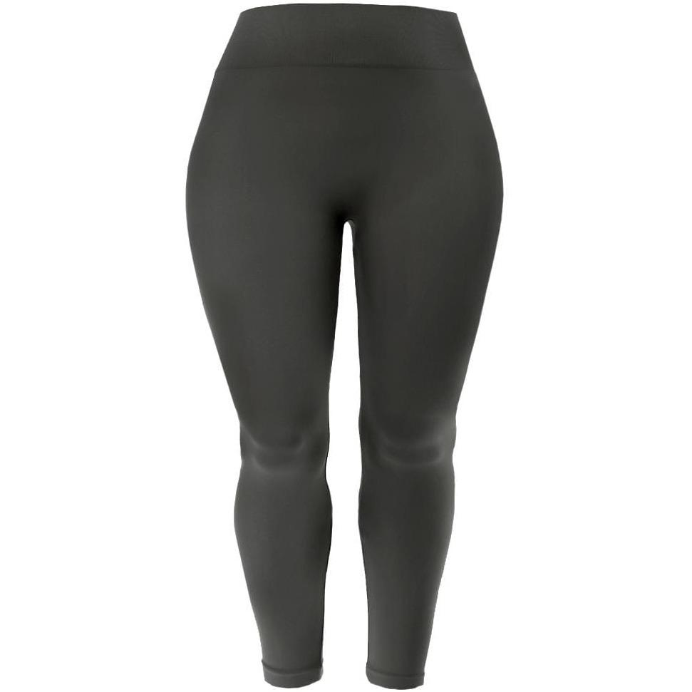 Posh Shoppe: Plus Size Seamless Opaque Full Length Leggings, Gray Bottoms
