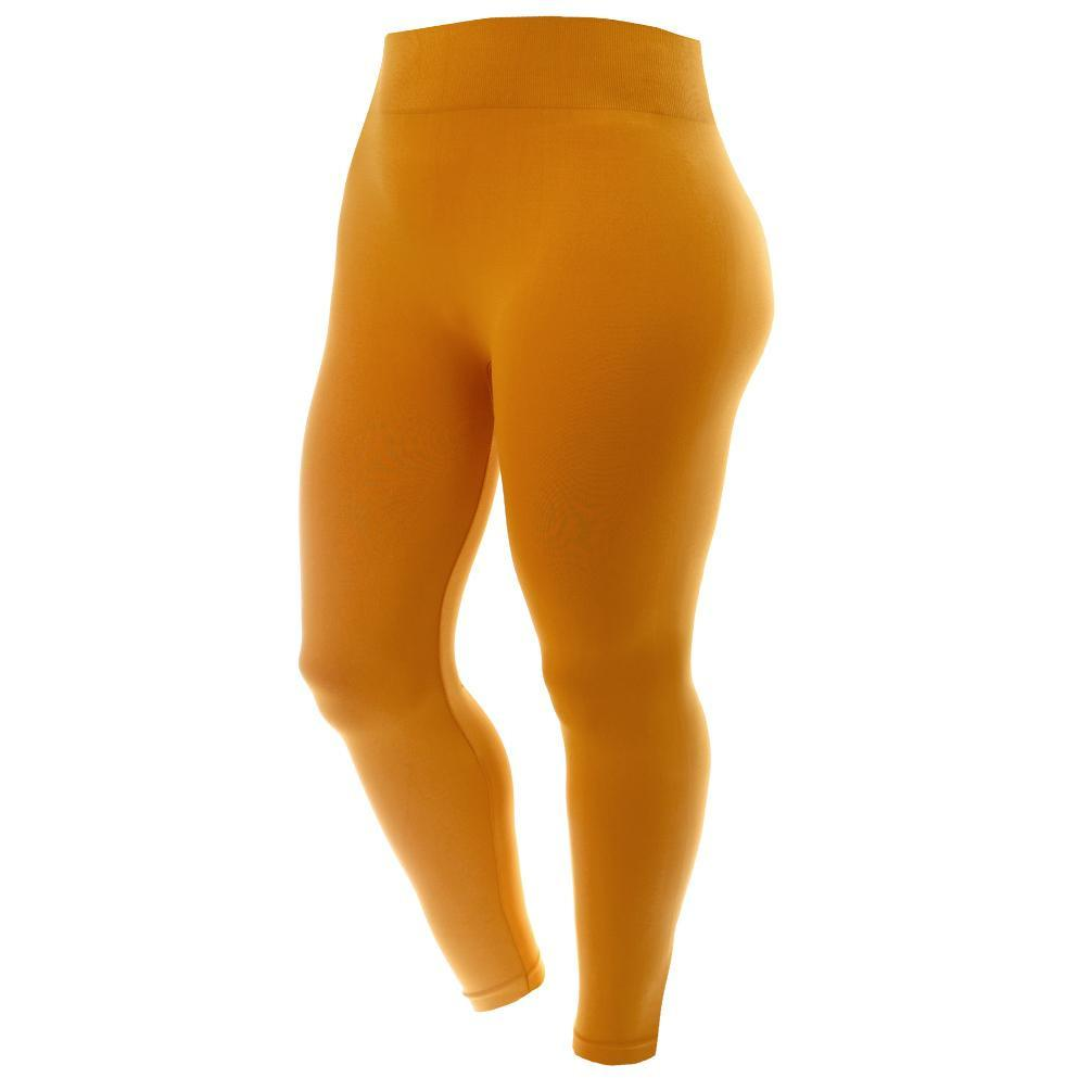 Posh Shoppe: Plus Size Seamless Opaque Full Length Leggings, Mustard Bottoms