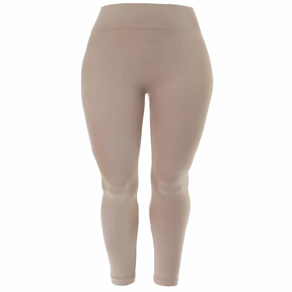 Posh Shoppe: Plus Size Seamless Opaque Full Length Leggings, Nude Bottoms