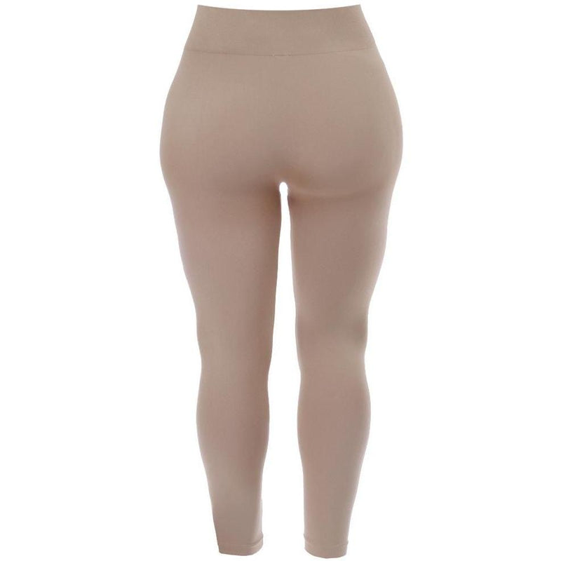 Plus Size Seamless Opaque Full Length Leggings, Nude