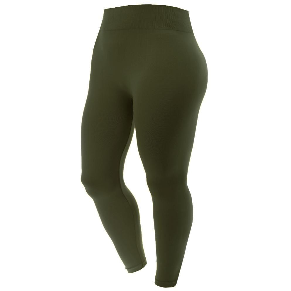 Posh Shoppe: Plus Size Seamless Opaque Full Length Leggings, Olive Bottoms