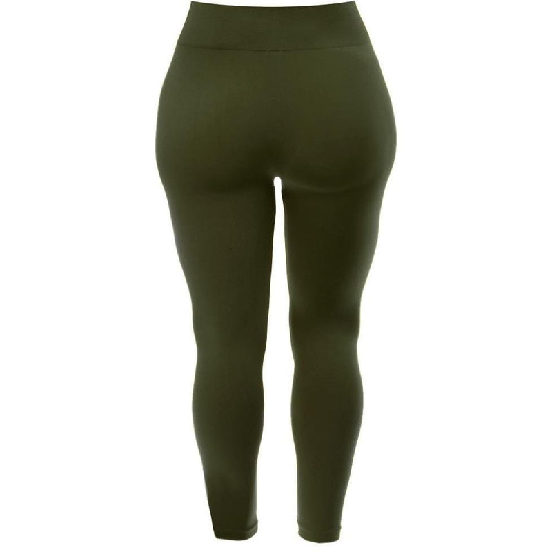Plus Size Seamless Opaque Full Length Leggings, Olive