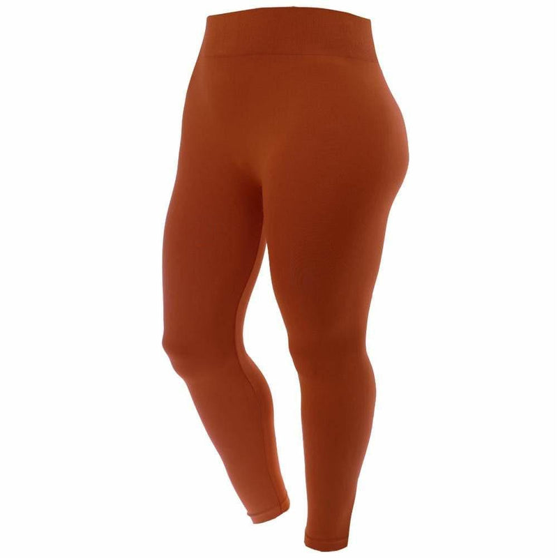 Plus Size Seamless Opaque Full Length Leggings, Mustard
