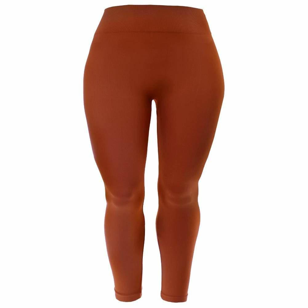 Posh Shoppe: Plus Size Seamless Opaque Full Length Leggings, Rust Bottoms