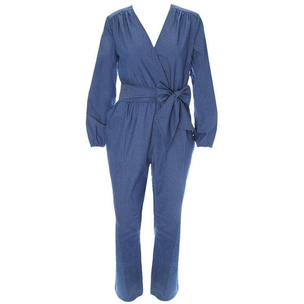 Plus Size Tie Waist Chambray Jumpsuit