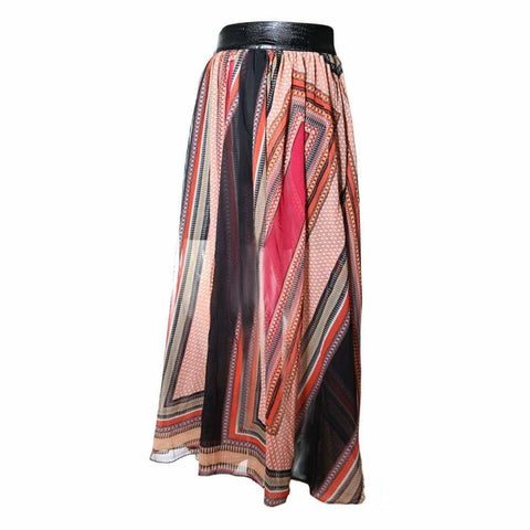 Plus Size Sheer Chiffon Statement Skirt, Red Scarf Print