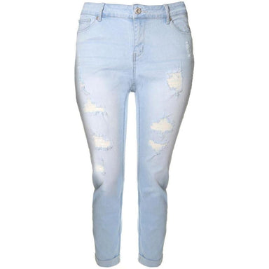 Posh Shoppe: Plus Size Cropped Cuff Distressed Jeans, Light Wash Bottoms