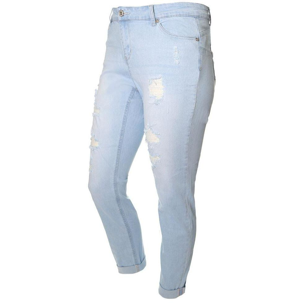 Posh Shoppe: Plus Size Cropped Cuff Distressed Jeans, Light Wash (Butt I Love You technology) Bottoms