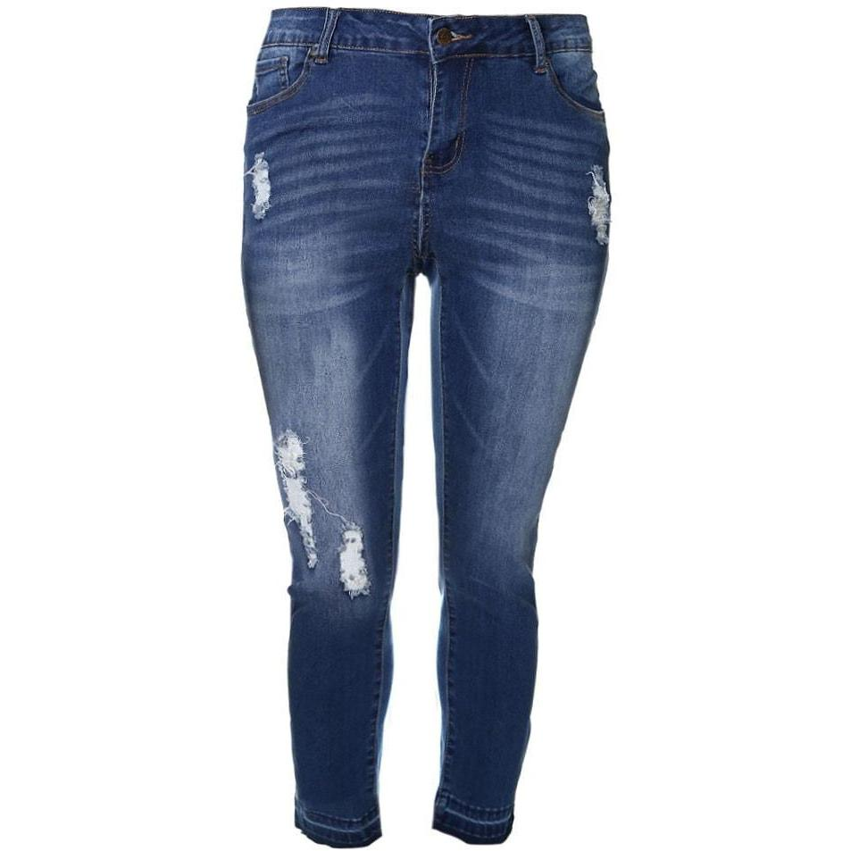 Plus Size Uncuffed Distressed Jeans, Med Wash (Butt I Love You technology)