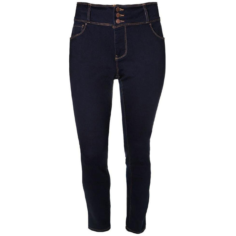 Posh Shoppe: Plus Size 3-Button Fly High Rise Jeans, Dark Wash Bottoms