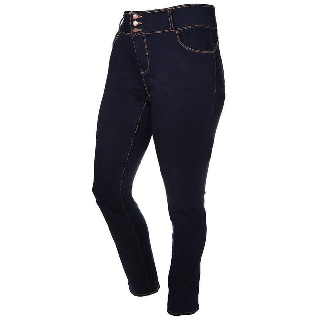 Posh Shoppe: Plus Size 3-Button Fly High Rise Jeans, Dark Wash (Butt I Love You technology) Bottoms