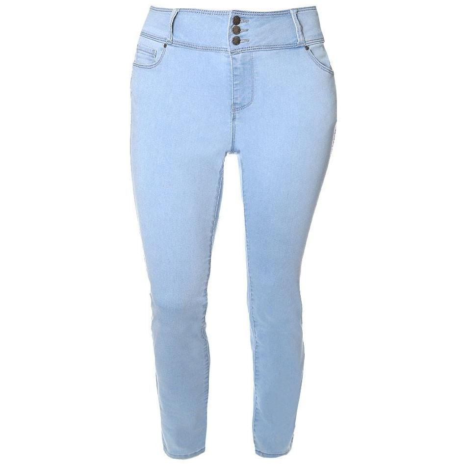 Posh Shoppe: Plus Size 3-Button Fly High Rise Jeans, Light Wash Bottoms