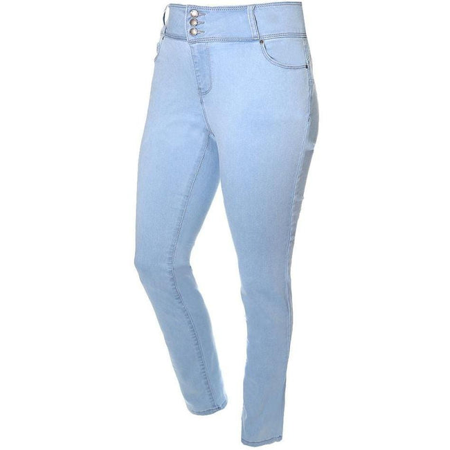 Posh Shoppe: Plus Size 3-Button Fly High Rise Jeans, Light Wash (Butt I Love You technology) Bottoms