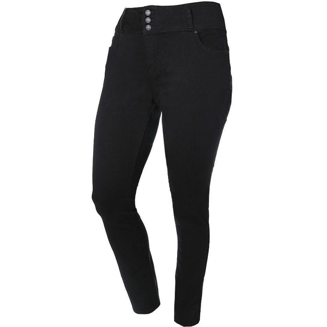Posh Shoppe: Plus Size 3-Button Fly High Rise Jeans, Black (Butt I Love You technology) Bottoms