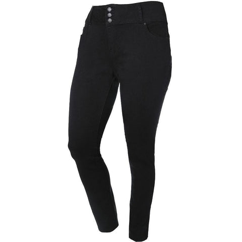 Plus Size 3-Button Fly High Rise Jeans, Black (Butt I Love You technology)