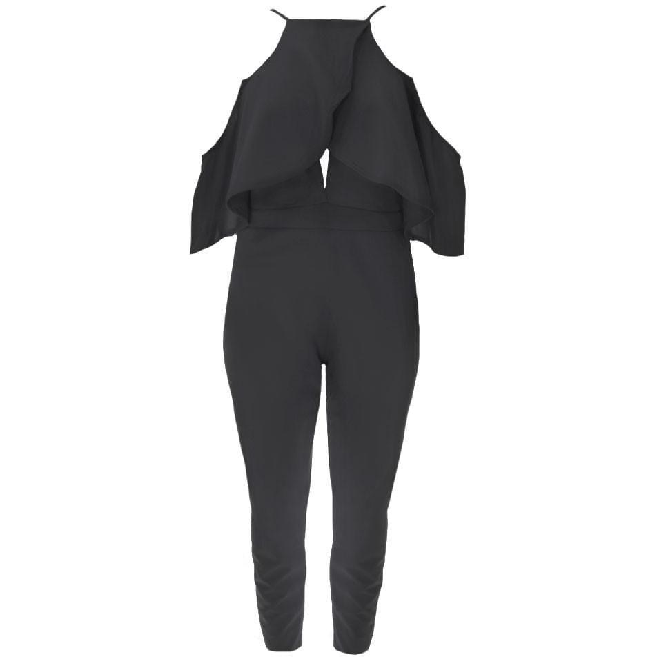 Posh Shoppe: Plus Size Cut-Out Flounce Top Jumpsuit, Black Dress