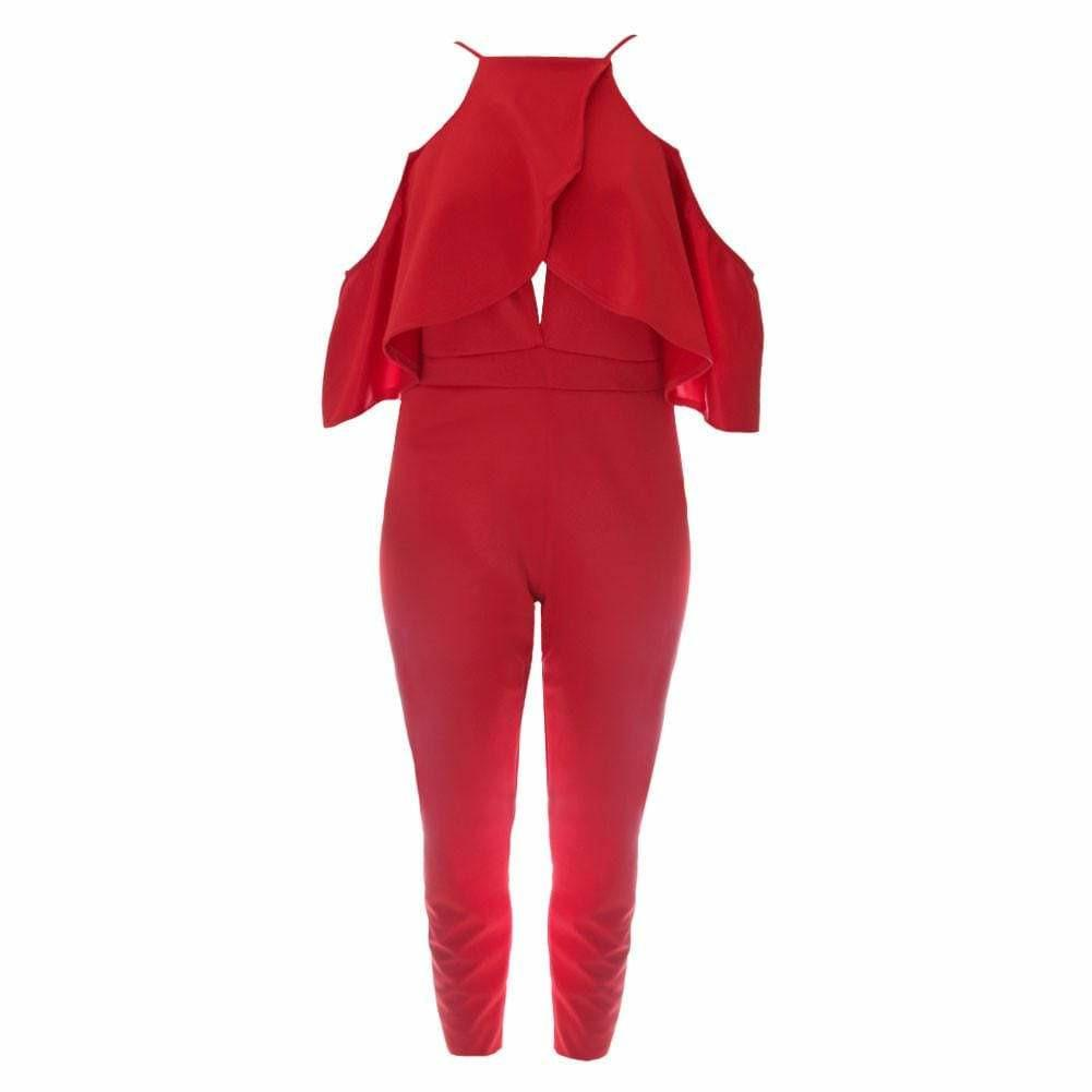 Cut-Out Flounce Top Jumpsuit, Red