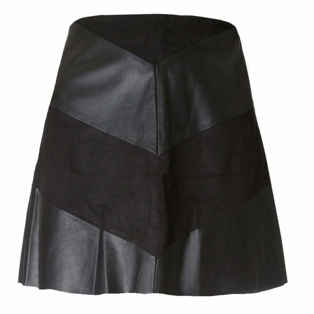 Plus Size Faux Suede and Leather Chevron Mini Skirt