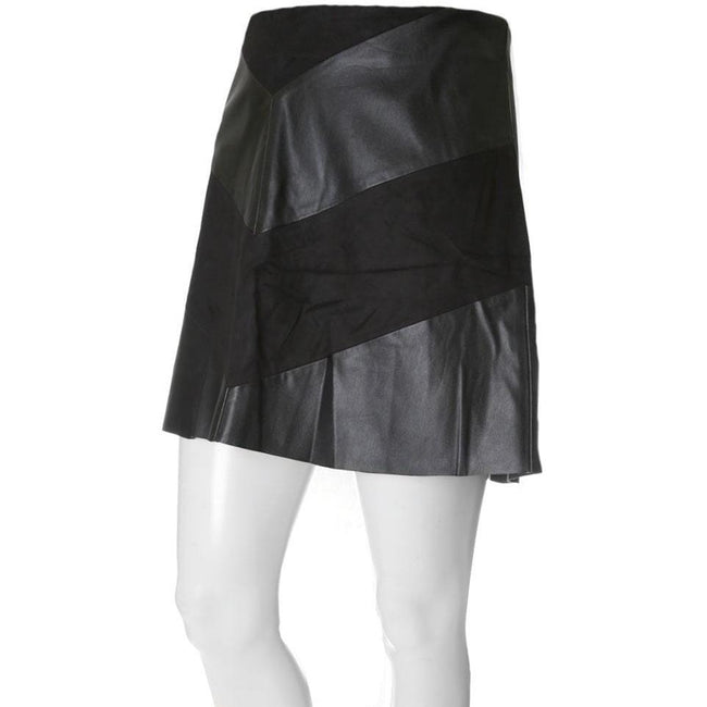 Plus Size Faux Suede & Leather Chevron Mini Skirt