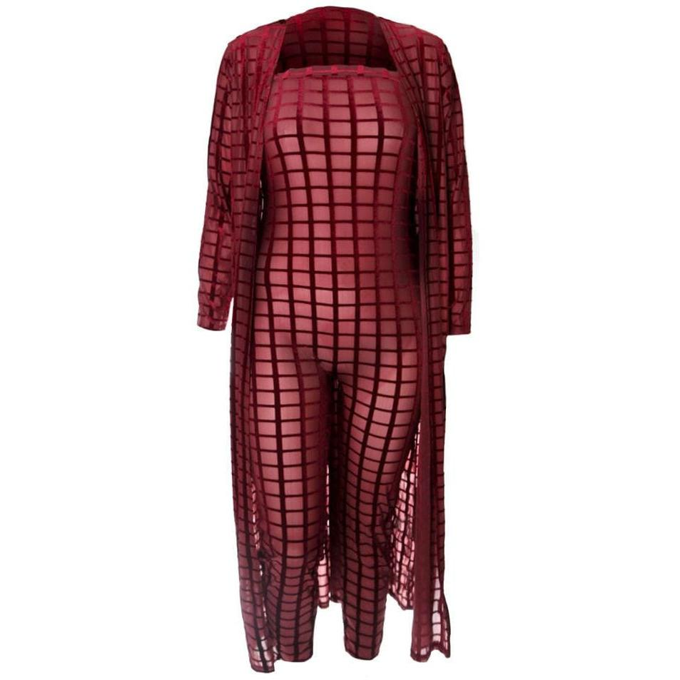 Plus Size Velvet Burnout Jumpsuit and Robe Set, Wine