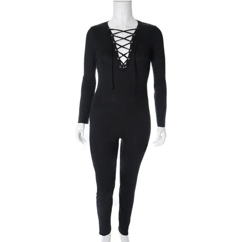 Plus Size Lace Up Cotton Jumpsuit