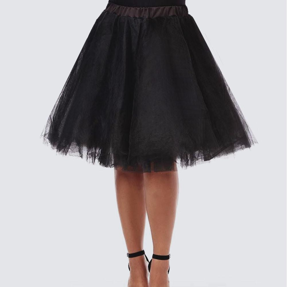 Posh Shoppe: Plus Size Mid Length Tulle Tutu, Black Bottoms